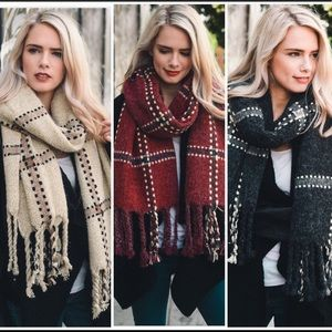 Accessories - JUST IN Chunky Plaid Blanket Scarf